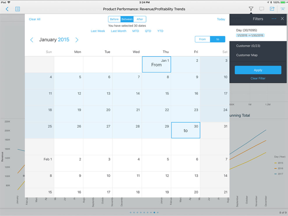 ipad showing sales dashboard with calendar filter