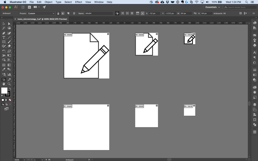 Setting up Illustrator artboards to design icons