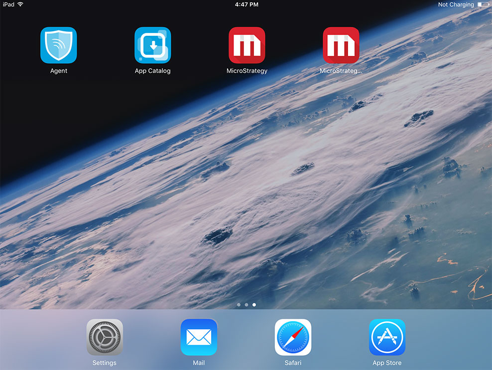 Screenshot showing apps being secured via MicroStrategy EMM.