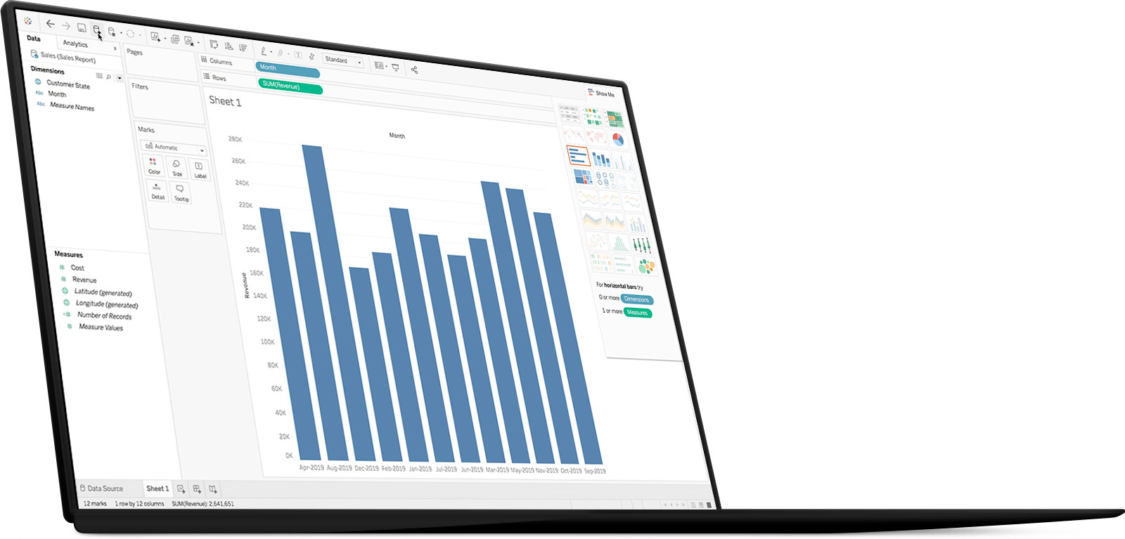 Screenshot of MicroStrategy data governance powering a Tableau dashboard