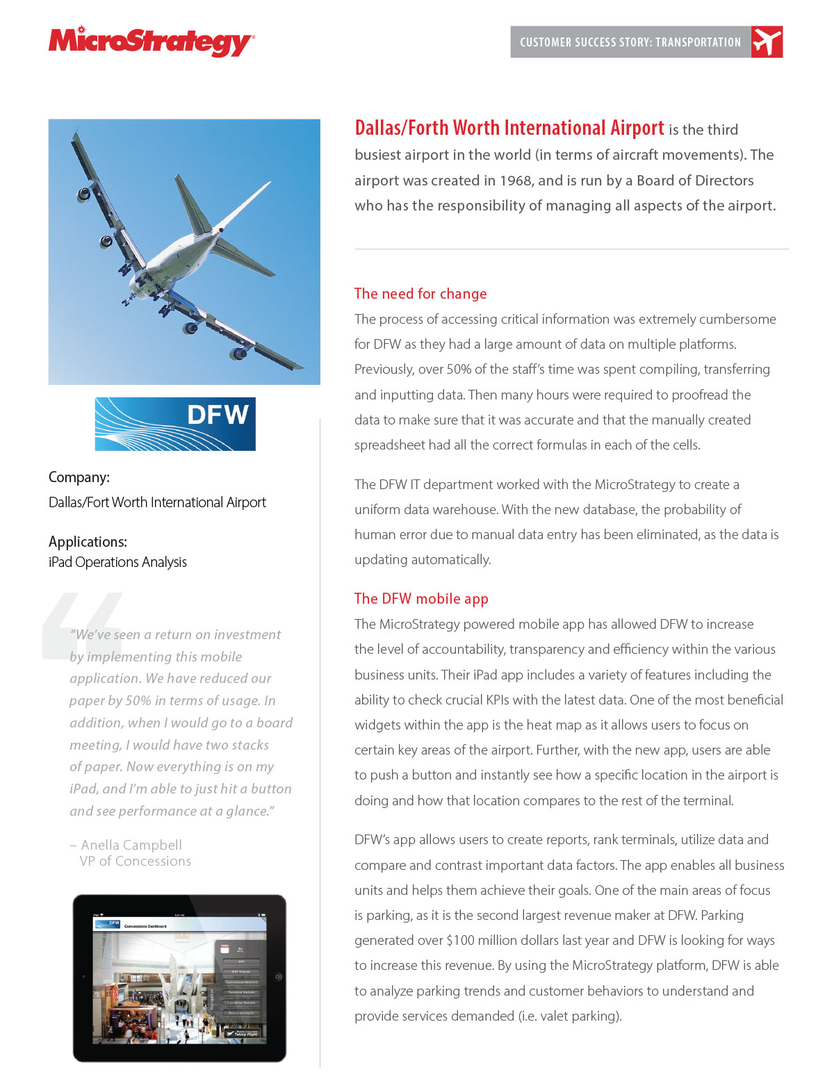 Brochure - Customer Success Story with Dallas/Fort Worth