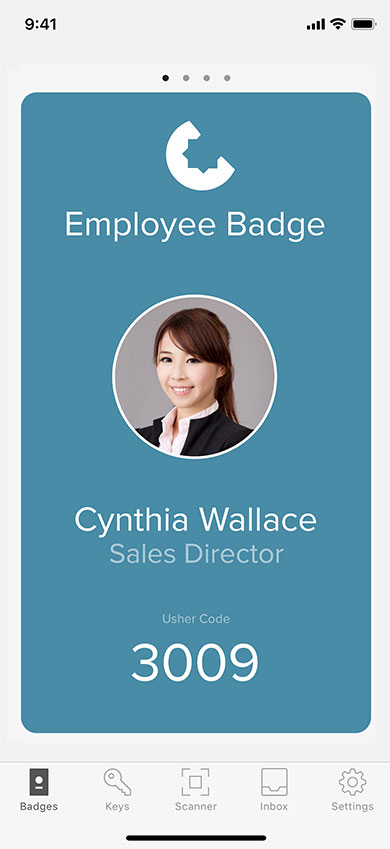 Screenshot showing an iPhone displaying a digital employee badge