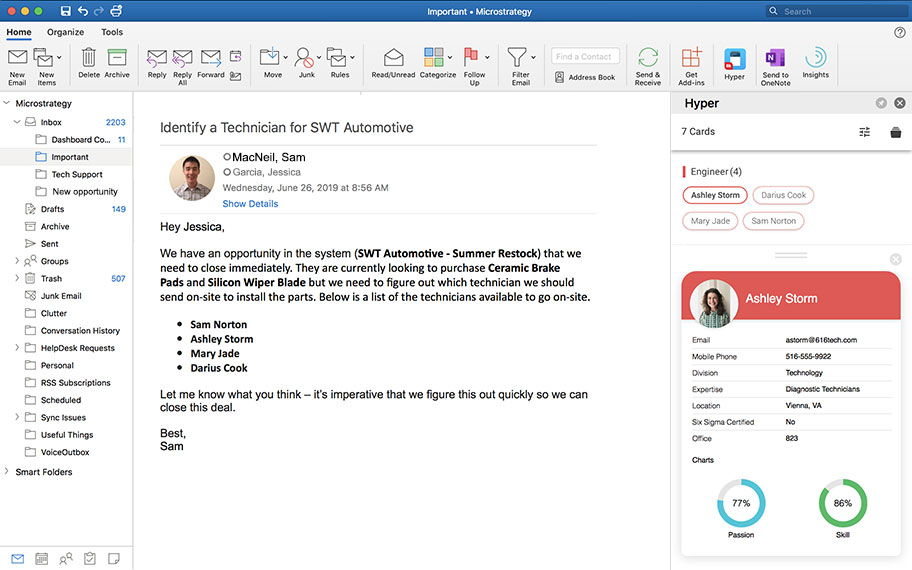 Screenshot of a HyperIntelligence card displayed within the UI for the MicroSoft Outlook email client.